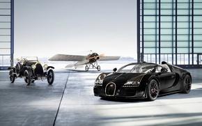 Обои bugatti veyron, black bess, раритет, планер, ангар