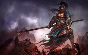 Картинка оружие, воин, арт, искры, посох, трупы, поле битвы