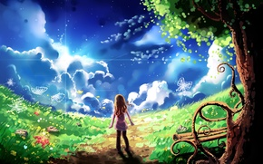 Картинка небо, облака, бабочки, дерево, арт, лавочка, девочка, тропинка, лужайка