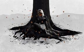 Картинка листья, девушка, Дерево