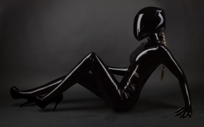 Обои latex suit, Helmet, black, pose, blonde, woman