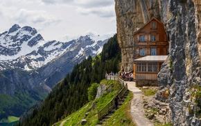 Картинка дорога, небо, горы, скала, люди, кафе