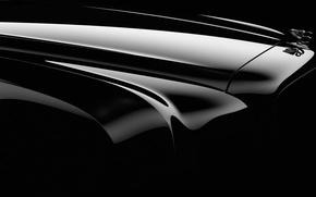 Обои черный, Bentley, логотип, капот, эмблема
