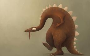 Картинка язык, фон, рисунок, динозавр, ящер, профиль