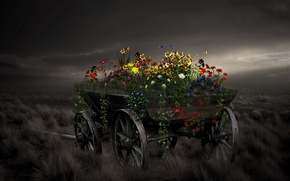 Картинка цветы, стиль, фон, телега