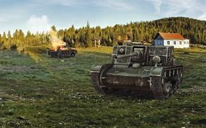 Картинка лес, дом, арт, танк, танки, WoT, World of Tanks, пт-сау, Wargaming.net, АТ-1
