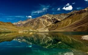 Картинка небо, облака, горы, озеро, отражение