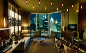 Обои дизайн, стиль, интерьер, мегаполис, жилая комната, урбанизм, городская квартира