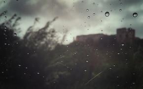 Картинка небо, замок, дождь, настроение, Капли, окно, rain, sky, mood, window, drops, castle, deepho