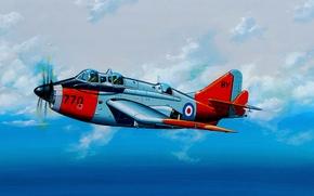 Картинка art, airplane, painting, aviation, Fairey Gannet