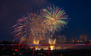 Картинка праздник, фейерверк, Jeff Wallace, Canada Day 2014, Edmonton's High Level Fireworks