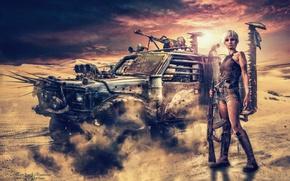 Картинка песок, небо, девушка, оружие, пыль, броневик, Дорога ярости, Mad Maх, Бузумный Мах