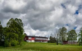 Картинка зелень, поле, лето, небо, облака, деревья, природа, дом, green, summer, house, Nature, Швеция, sky, Sweden, …