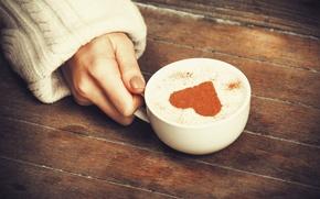 Картинка девушка, фон, widescreen, обои, настроения, сердце, рука, кружка, чашка, wallpaper, сердечко, капучино, широкоформатные, background, полноэкранные, …