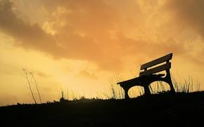 Картинка небо, трава, Скамейка