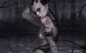 Обои мрак, Нож, Водяная, Болото