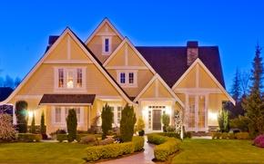 Картинка дизайн, газон, Дом, подсветка, особняк, кусты