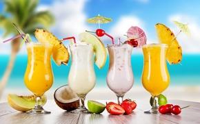Обои strawberry, glasses, food, fruits, cocktail, lime, cherry, коктейль, cocktails, summer, melon, лето, coconut