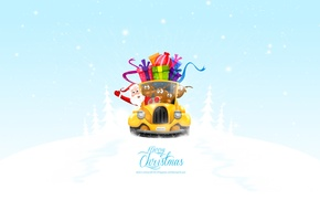 Обои подарки, merry christmas, рождество, new year, новый год, машина, санта клаус, олени