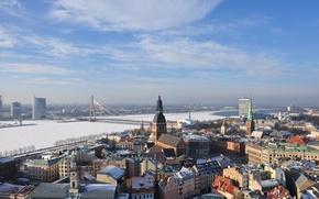 Картинка небо, мост, река, архитектура, Рига, Латвия, Riga, Latvia