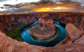Картинка Природа, Облака, Каньон, Колорадо, Аризона, США, Подкова (Хорсшу-Бенд), Crafts of Colorado, Горы Озеро, Штат