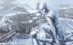 Обои зима, крыша, девушка, снег, азия, арт, ниндзя, steve argyle