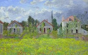 Обои Клод Моне, картина, Дома в Аржантёе, пейзаж