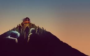 Картинка небо, огни, дом, люди, рисунок, гора