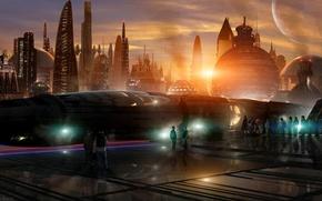 Обои Train station, луны, мегаполис, футуризм, city, город, спутники, sunset, Scott Richard, будущее, planets, поезд, здания, ...