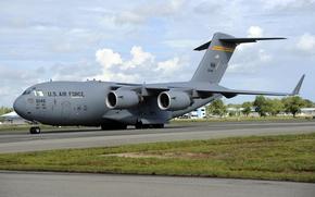 Картинка облака, аэродром, Hawaii, ВВС США, C-17 Globemaster III, военный транспорт, Hickam Air Force Base