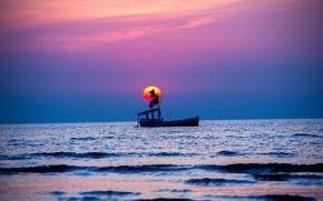 Картинка море, небо, закат, лодка