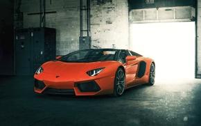 Картинка Roadster, Lamborghini, Orange, Front, LP700-4, Aventador, Supercar
