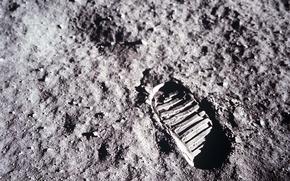Обои луна, след, аполлон 11
