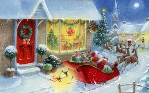 Картинка зима, снег, игрушки, елка, новый год, дома, подарки, дед мороз