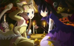 Картинка взгляд, улыбка, девушки, игрушки, аниме, тыква, ведьма, хэллоуин, halloween, anime, костюмы, кошечка, takanashi rikka, chuunibyou …