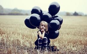 Картинка поле, настроение, шары, девочка