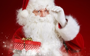 Картинка красный, фон, праздник, подарок, шапка, очки, Новый год, шуба, борода, белые, Дед Мороз, варежки, Santa ...