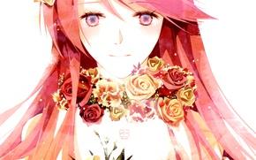 Обои девушка, цветы, розы, аниме, арт, vocaloid, megurine luka, вокалоид, chris, weightlessness space