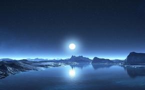 Картинка небо, вода, звезды, горы, берег, Луна