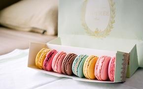 Картинка коробка, печенье, сладости, разноцветное, разное, десерт, ассорти, macaron, макарун