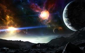 Картинка art, painting, planet, person, painter, spacesuit, Sci Fi, hunano