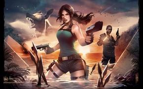 Картинка вода, девушка, пистолеты, шорты, lara croft, tomb raider