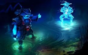 Картинка вода, река, молния, арт, копия, Dota 2, Storm Spirit, Raijin