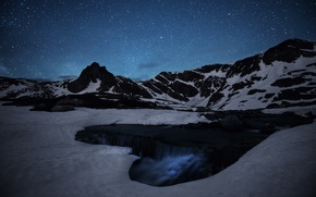 Картинка лед, космос, звезды, горы, ручей, водопад, тайна, Млечный Путь