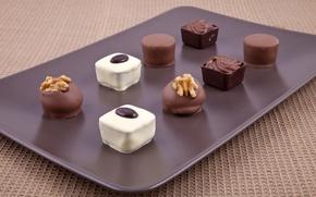 Картинка белый, шоколад, тарелка, конфеты, орехи, десерт, сладкое, молочный