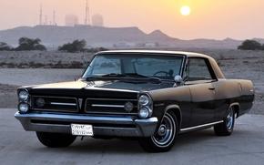 Картинка небо, солнце, чёрный, горизонт, классика, Pontiac, Понтиак, передок, Гранд Пикс, Grand Prix, 1963