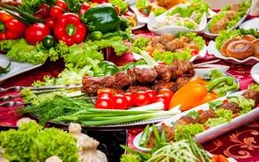 Картинка Мясные продукты, фото, Шашлык, Помидоры, Сервировка, Еда, Овощи, Перец