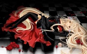 Обои девушка, розы, чулки, платье, лежит, zettai ryouiki, chii, chobits