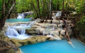 Картинка лес, деревья, ручей, камни, водопад, каскад, пороги