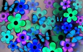 Картинка цветы, коллаж, бабочка, крылья, лепестки